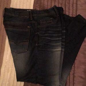 Men's straight stretch dark jeans